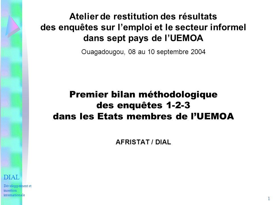 1 Atelier de restitution des résultats des enquêtes sur lemploi et le secteur informel dans sept pays de lUEMOA Ouagadougou, 08 au 10 septembre 2004 Premier bilan méthodologique des enquêtes 1-2-3 dans les Etats membres de lUEMOA AFRISTAT / DIAL DIAL Développement et insertion internationale