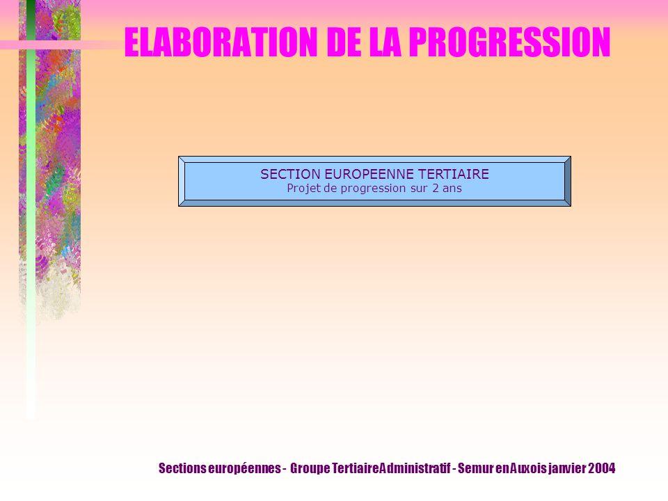 Sections européennes - Groupe Tertiaire Administratif - Semur en Auxois janvier 2004 ELABORATION DE LA PROGRESSION SECTION EUROPEENNE TERTIAIRE Projet de progression sur 2 ans