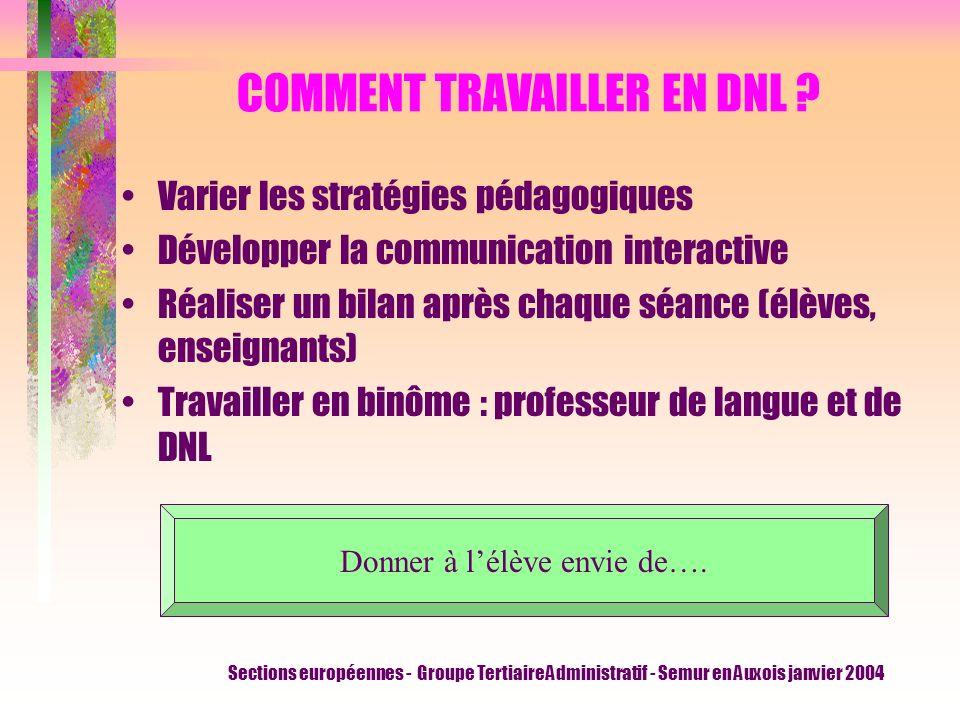 Sections européennes - Groupe Tertiaire Administratif - Semur en Auxois janvier 2004 COMMENT TRAVAILLER EN DNL .