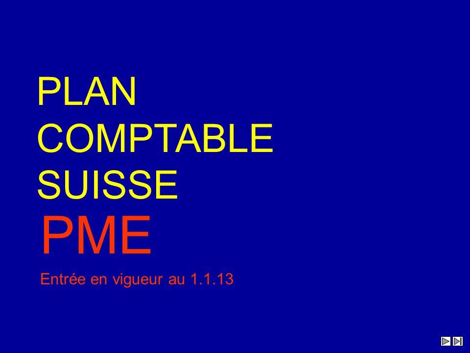PLAN COMPTABLE SUISSE PME Entrée en vigueur au 1.1.13