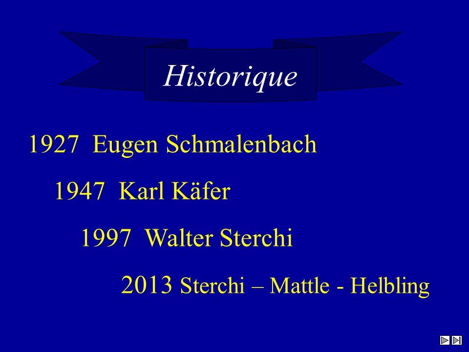 Historique 1927 Eugen Schmalenbach 1947 Karl Käfer 1997 Walter Sterchi 2013 Sterchi – Mattle - Helbling