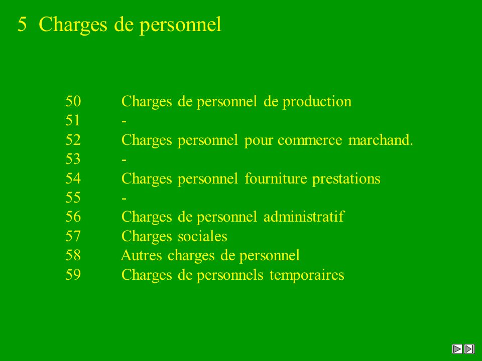 5 Charges de personnel 50 Charges de personnel de production 51 - 52 Charges personnel pour commerce marchand. 53 - 54 Charges personnel fourniture pr