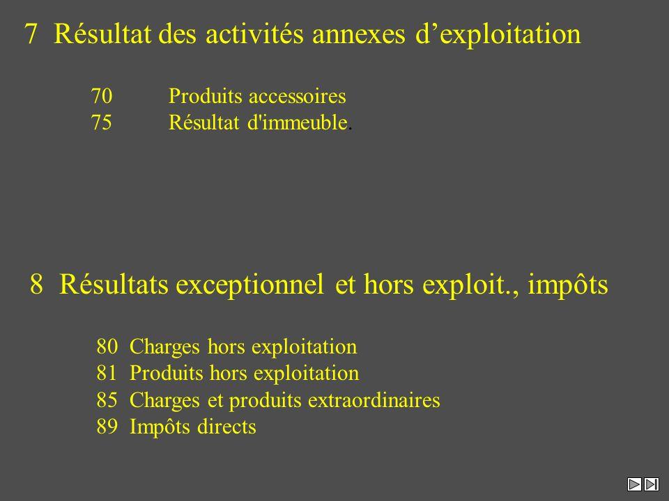7 Résultat des activités annexes dexploitation 70 Produits accessoires 75 Résultat d'immeuble. 8 Résultats exceptionnel et hors exploit., impôts 80Cha