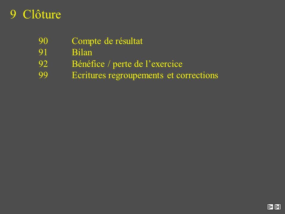 9 Clôture 90 Compte de résultat 91 Bilan 92 Bénéfice / perte de lexercice 99 Ecritures regroupements et corrections