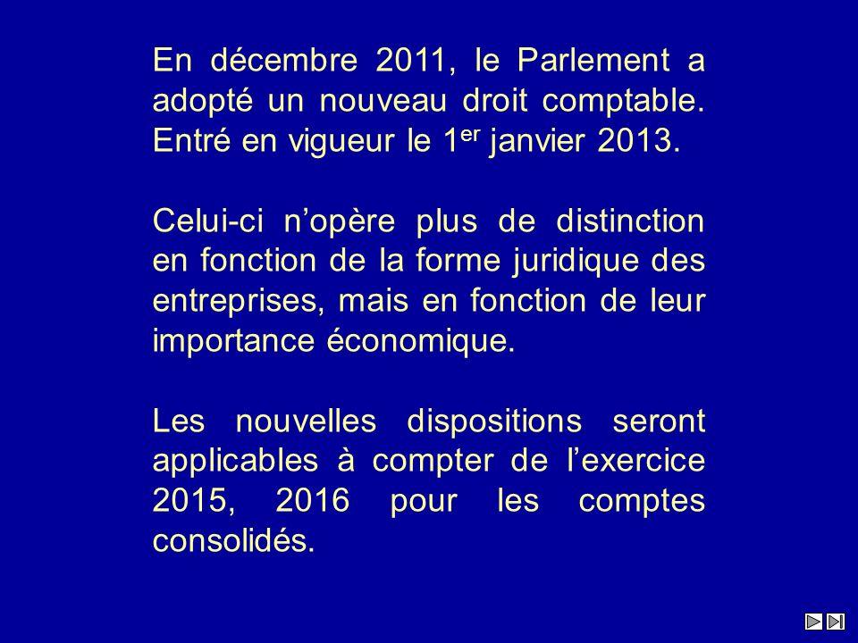 En décembre 2011, le Parlement a adopté un nouveau droit comptable. Entré en vigueur le 1 er janvier 2013. Celui-ci nopère plus de distinction en fonc