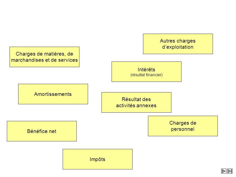 Charges de matières, de marchandises et de services Impôts Amortissements Charges de personnel Intérêts (résultat financier) Bénéfice net Résultat des