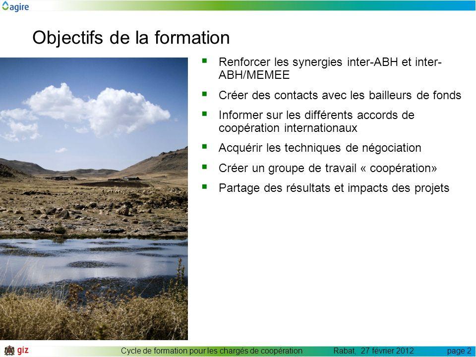 Objectifs de la formation Cycle de formation pour les chargés de coopération Rabat, 27 février 2012 page 2 Renforcer les synergies inter-ABH et inter-