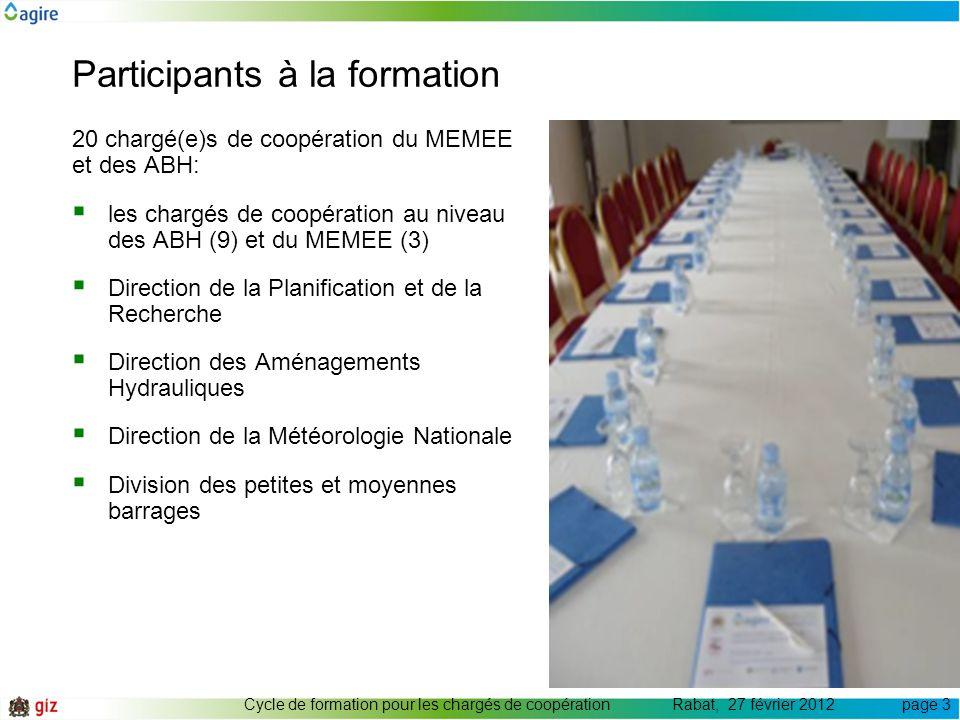 Participants à la formation 20 chargé(e)s de coopération du MEMEE et des ABH: les chargés de coopération au niveau des ABH (9) et du MEMEE (3) Directi
