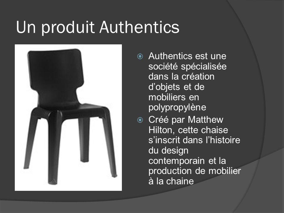 Un produit Authentics Authentics est une société spécialisée dans la création dobjets et de mobiliers en polypropylène Créé par Matthew Hilton, cette