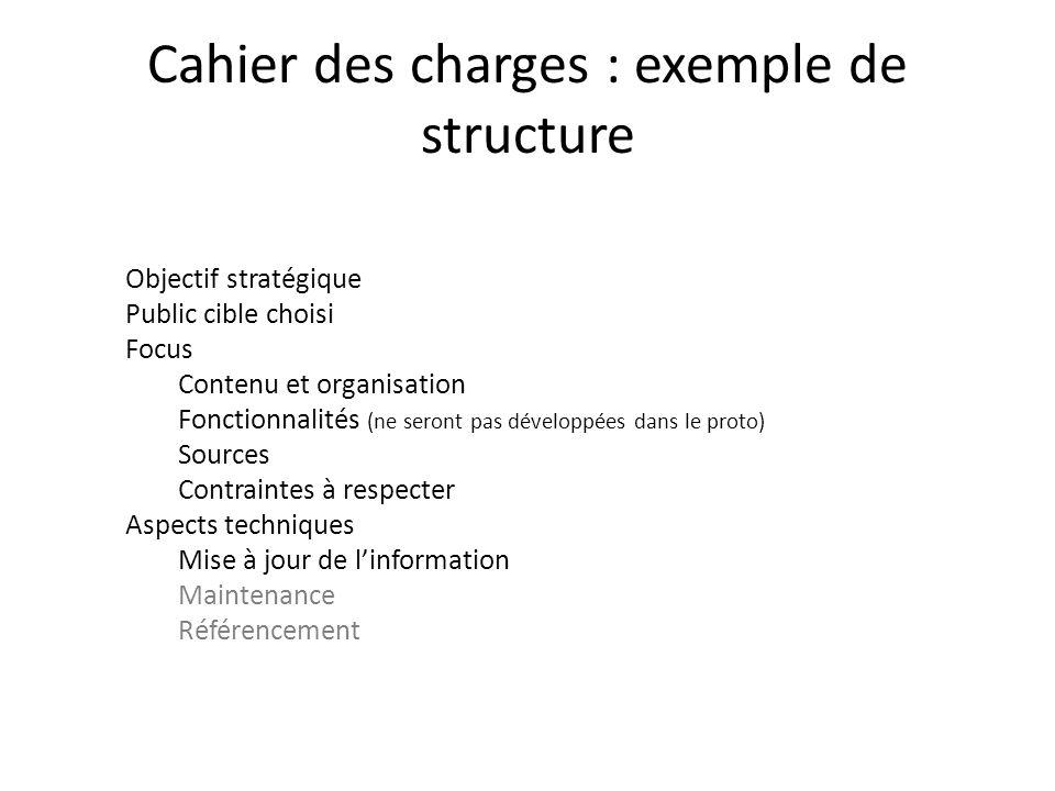 Cahier des charges : exemple de structure Objectif stratégique Public cible choisi Focus Contenu et organisation Fonctionnalités (ne seront pas dévelo