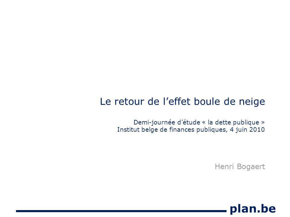 plan.be Le retour de leffet boule de neige Demi-journée détude « la dette publique » Institut belge de finances publiques, 4 juin 2010 Henri Bogaert