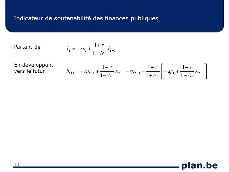plan.be Indicateur de soutenabilité des finances publiques 14 Partant de En développant vers le futur