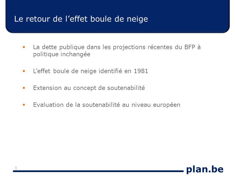 plan.be Le retour de leffet boule de neige La dette publique dans les projections récentes du BFP à politique inchangée Leffet boule de neige identifié en 1981 Extension au concept de soutenabilité Evaluation de la soutenabilité au niveau européen 1