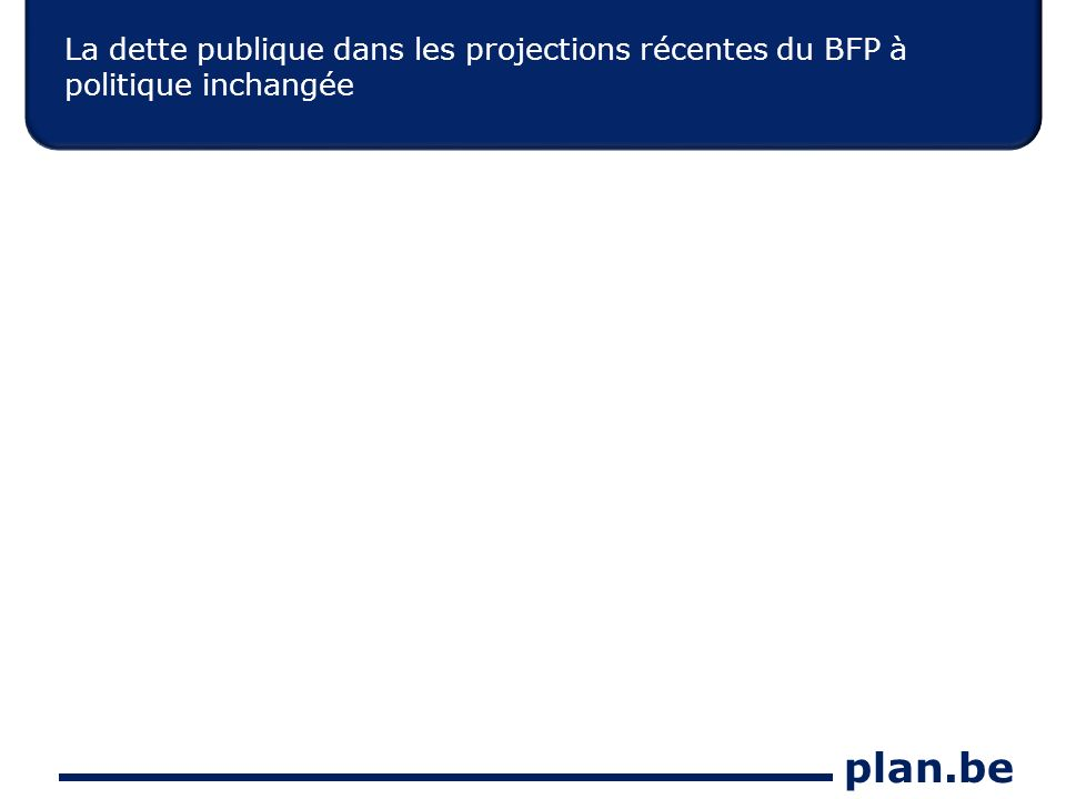 plan.be La dette publique dans les projections récentes du BFP à politique inchangée