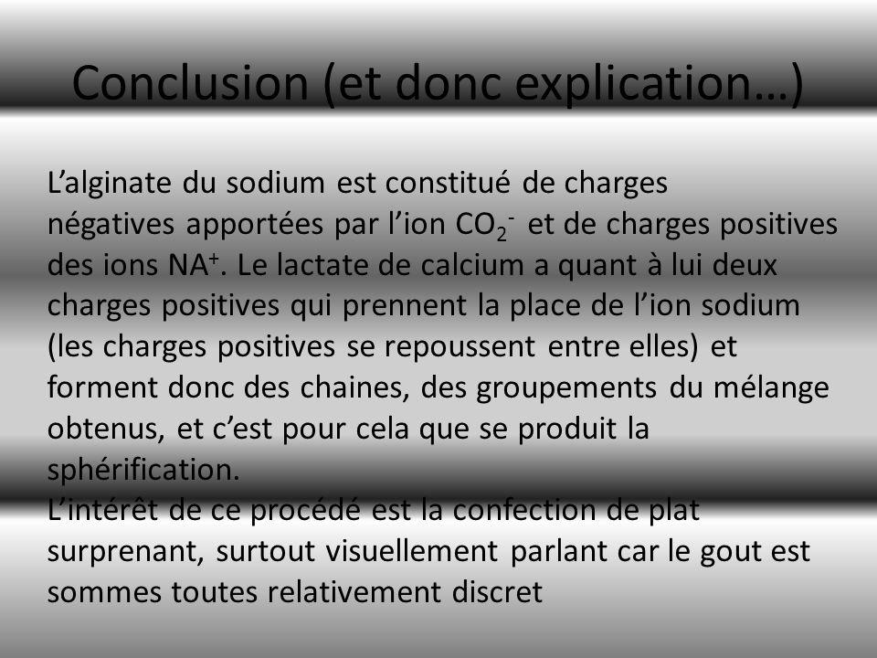 Conclusion (et donc explication…) Lalginate du sodium est constitué de charges négatives apportées par lion CO 2 - et de charges positives des ions NA