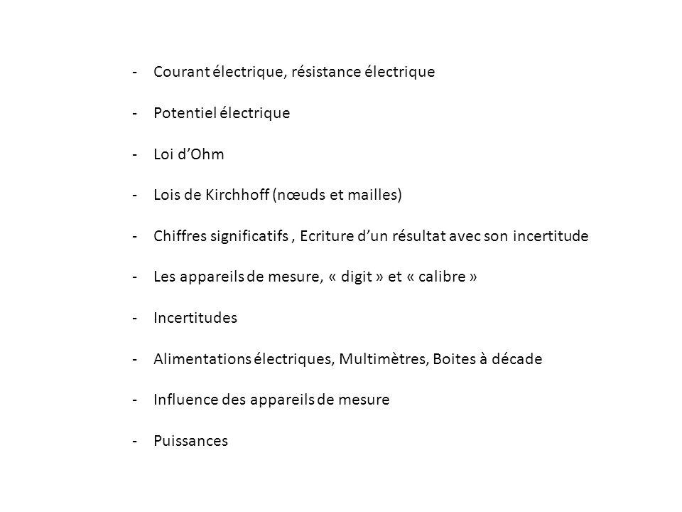 -Courant électrique, résistance électrique -Potentiel électrique -Loi dOhm -Lois de Kirchhoff (nœuds et mailles) -Chiffres significatifs, Ecriture dun