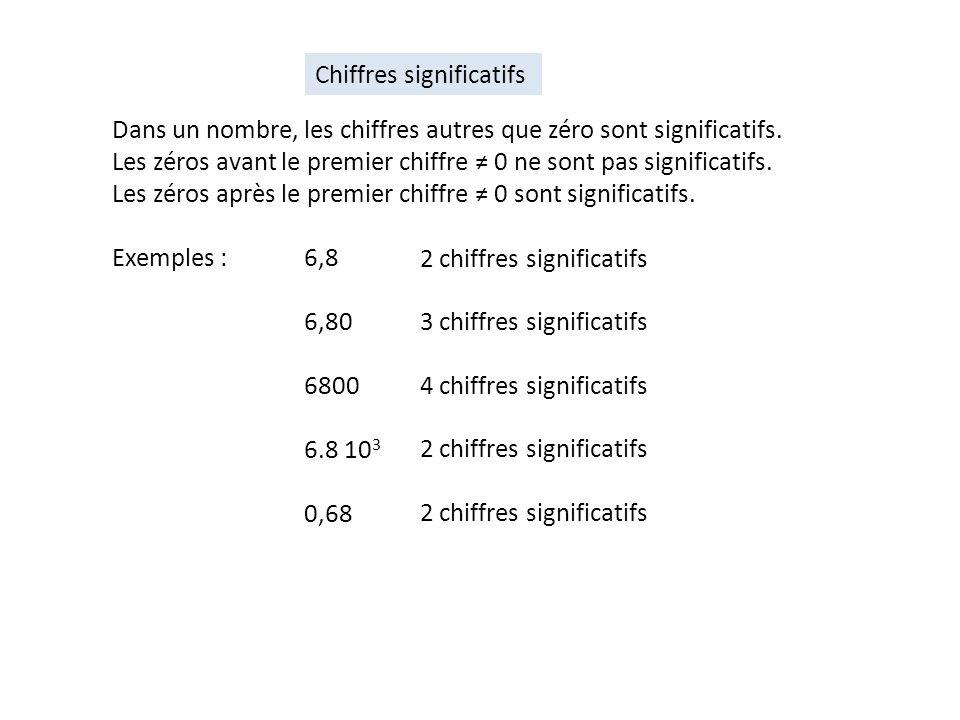 Dans un nombre, les chiffres autres que zéro sont significatifs. Les zéros avant le premier chiffre 0 ne sont pas significatifs. Les zéros après le pr