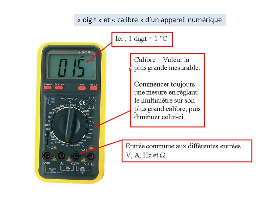 « digit » et « calibre » dun appareil numérique