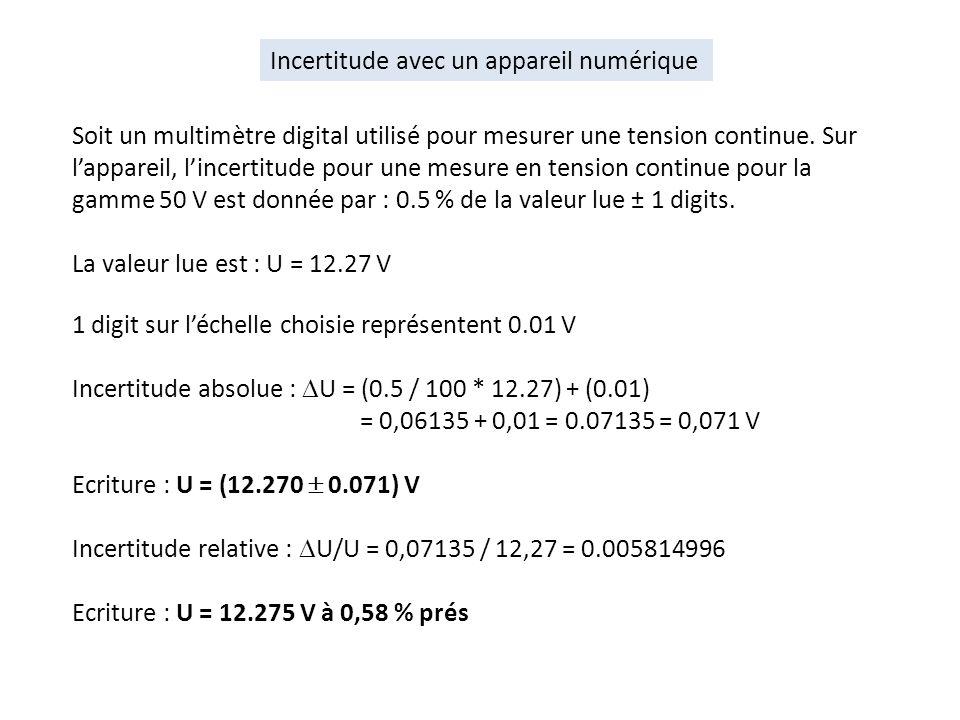 Soit un multimètre digital utilisé pour mesurer une tension continue. Sur lappareil, lincertitude pour une mesure en tension continue pour la gamme 50