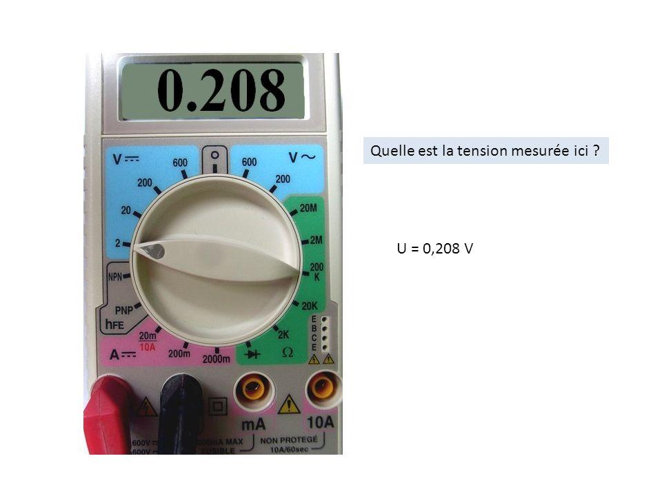 Quelle est la tension mesurée ici ? U = 0,208 V
