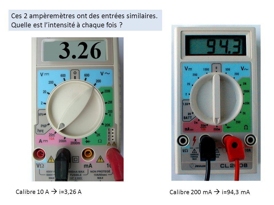 Ces 2 ampèremètres ont des entrées similaires. Quelle est lintensité à chaque fois ? Calibre 10 A i=3,26 A Calibre 200 mA i=94,3 mA