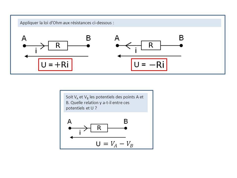 Appliquer la loi dOhm aux résistances ci-dessous : Soit V A et V B les potentiels des points A et B. Quelle relation y a-t-il entre ces potentiels et