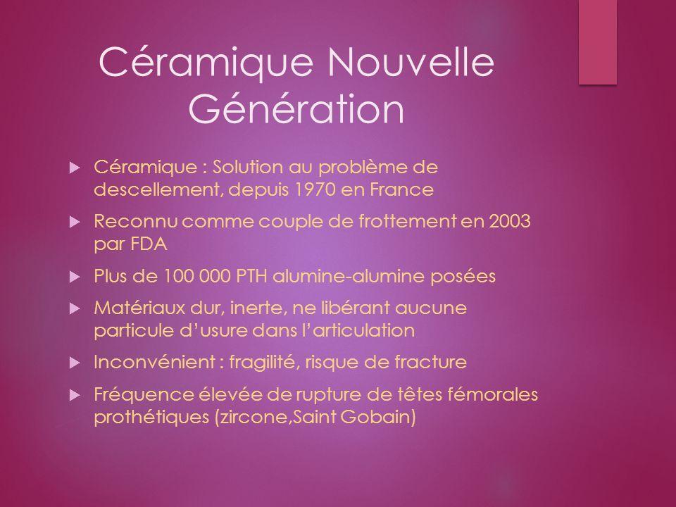Céramique Nouvelle Génération Céramique : Solution au problème de descellement, depuis 1970 en France Reconnu comme couple de frottement en 2003 par F