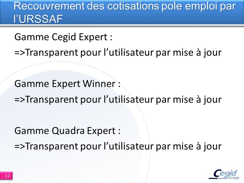 Gamme Cegid Expert : =>Transparent pour lutilisateur par mise à jour Gamme Expert Winner : =>Transparent pour lutilisateur par mise à jour Gamme Quadr