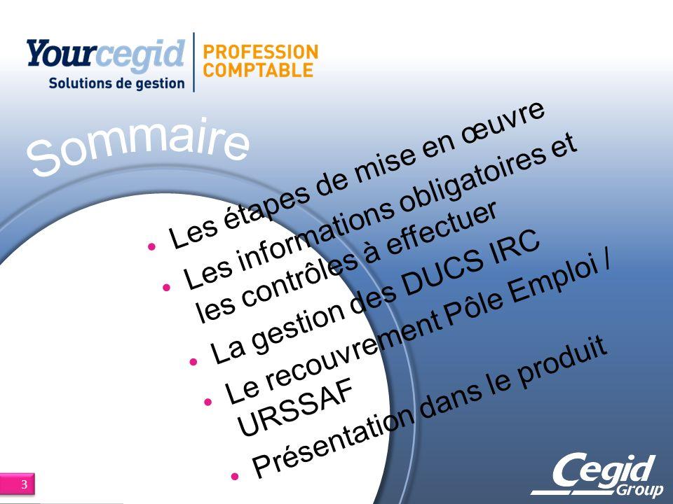 Les étapes de mise en œuvre Les informations obligatoires et les contrôles à effectuer La gestion des DUCS IRC Le recouvrement Pôle Emploi / URSSAF Présentation dans le produit 3