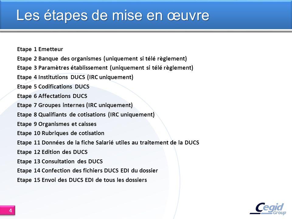 Etape 1 Emetteur Etape 2 Banque des organismes (uniquement si télé règlement) Etape 3 Paramètres établissement (uniquement si télé règlement) Etape 4 Institutions DUCS (IRC uniquement) Etape 5 Codifications DUCS Etape 6 Affectations DUCS Etape 7 Groupes internes (IRC uniquement) Etape 8 Qualifiants de cotisations (IRC uniquement) Etape 9 Organismes et caisses Etape 10 Rubriques de cotisation Etape 11 Données de la fiche Salarié utiles au traitement de la DUCS Etape 12 Edition des DUCS Etape 13 Consultation des DUCS Etape 14 Confection des fichiers DUCS EDI du dossier Etape 15 Envoi des DUCS EDI de tous les dossiers Les étapes de mise en œuvre 4