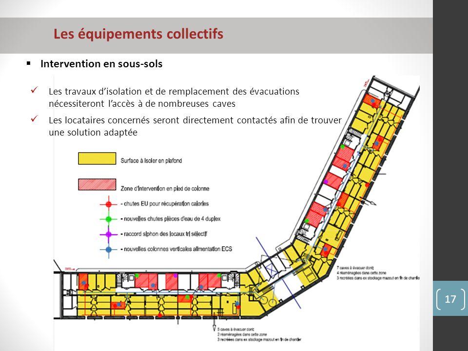 Les équipements collectifs 17 Intervention en sous-sols Les travaux disolation et de remplacement des évacuations nécessiteront laccès à de nombreuses caves Les locataires concernés seront directement contactés afin de trouver une solution adaptée