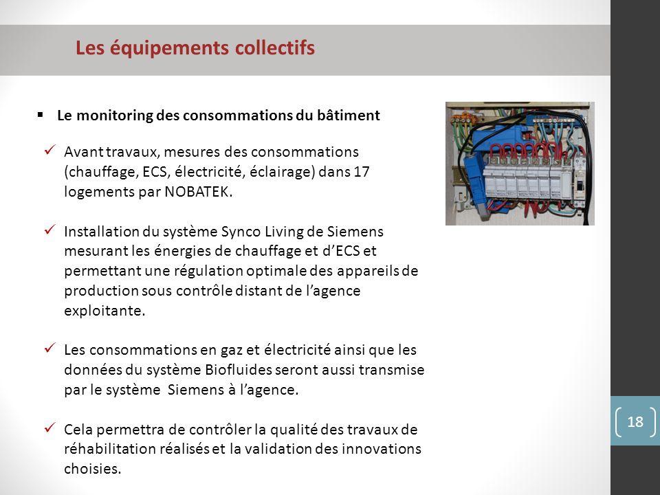 Les équipements collectifs 18 Le monitoring des consommations du bâtiment Avant travaux, mesures des consommations (chauffage, ECS, électricité, éclairage) dans 17 logements par NOBATEK.