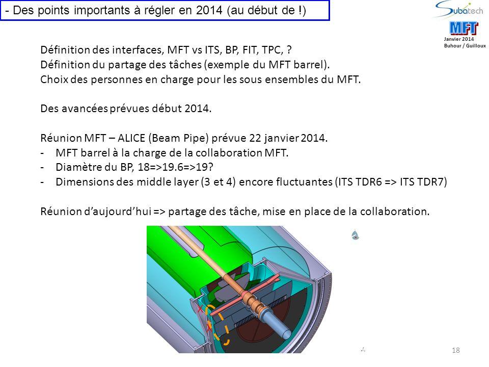 18 Janvier 2014 Buhour / Guilloux - Des points importants à régler en 2014 (au début de !) Définition des interfaces, MFT vs ITS, BP, FIT, TPC, .