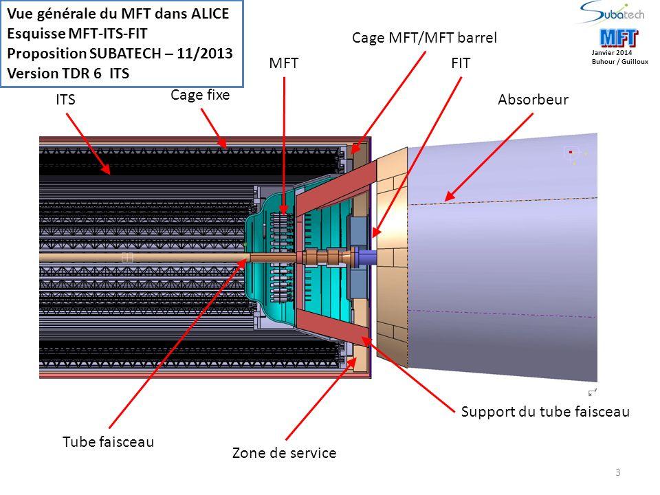 3 FIT Cage MFT/MFT barrel Cage fixe Tube faisceau Support du tube faisceau Zone de service Vue générale du MFT dans ALICE Esquisse MFT-ITS-FIT Proposition SUBATECH – 11/2013 Version TDR 6 ITS Janvier 2014 Buhour / Guilloux MFT AbsorbeurITS