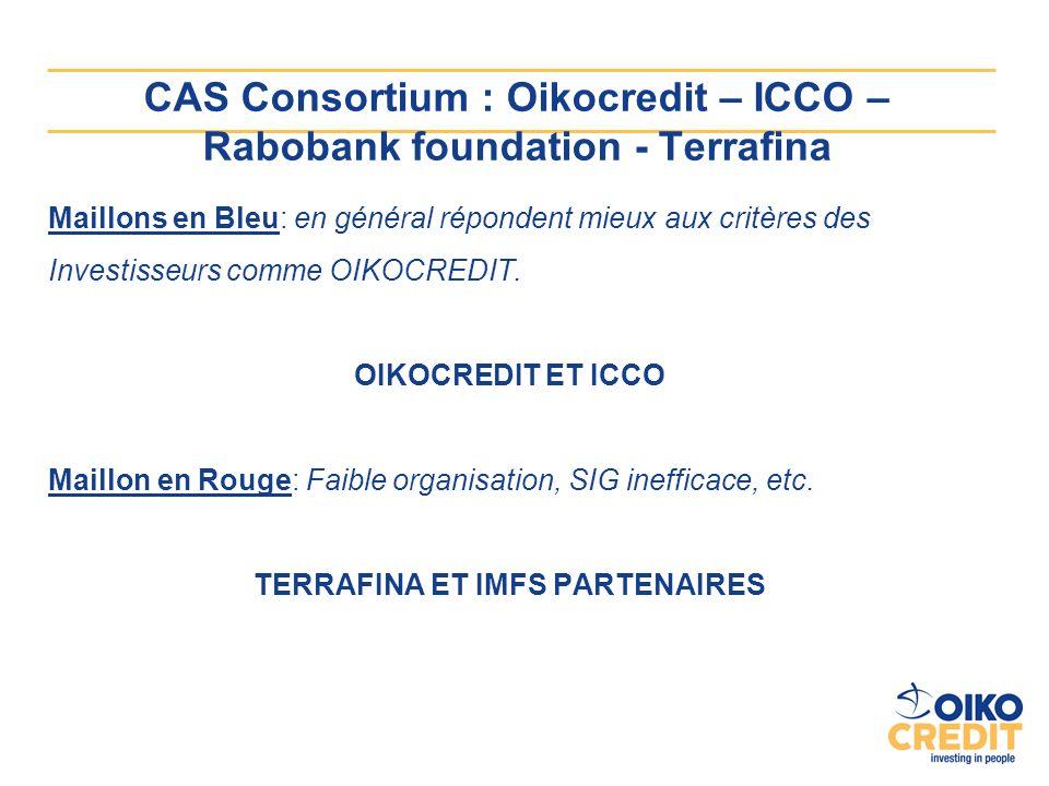 CAS Consortium : Oikocredit – ICCO – Rabobank foundation - Terrafina Maillons en Bleu: en général répondent mieux aux critères des Investisseurs comme OIKOCREDIT.