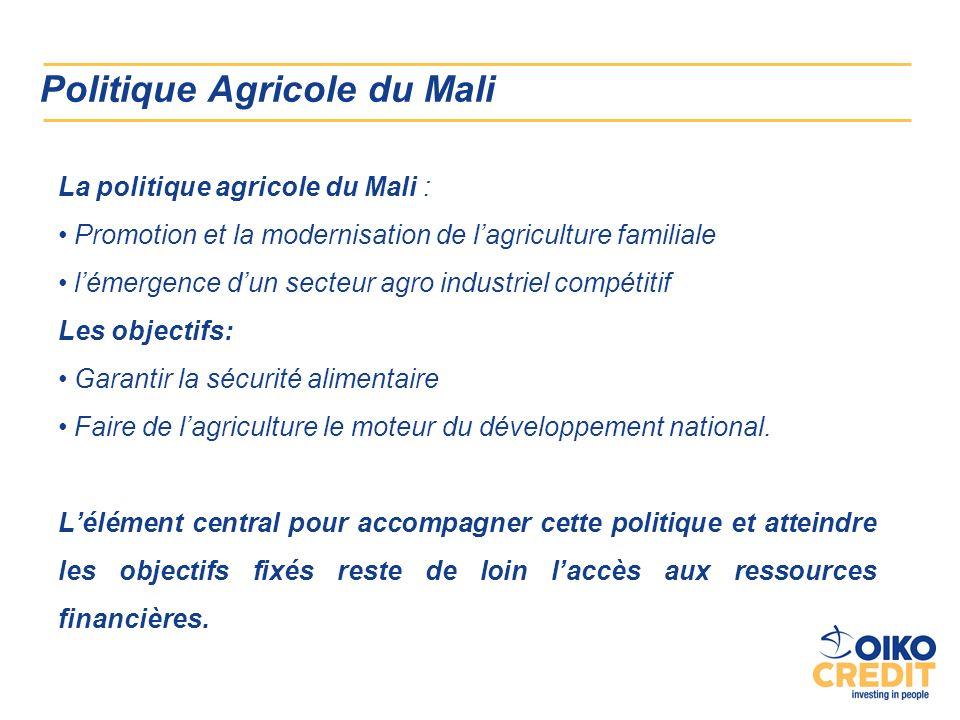 Politique Agricole du Mali La politique agricole du Mali : Promotion et la modernisation de lagriculture familiale lémergence dun secteur agro industriel compétitif Les objectifs: Garantir la sécurité alimentaire Faire de lagriculture le moteur du développement national.