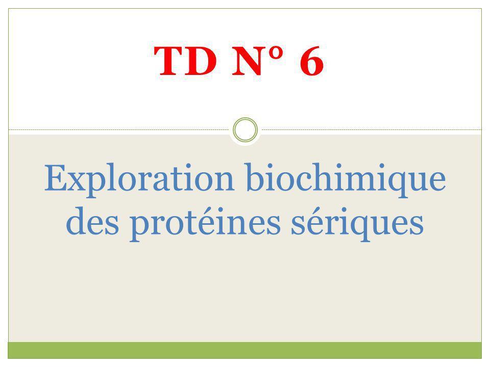 TD N° 6 Exploration biochimique des protéines sériques
