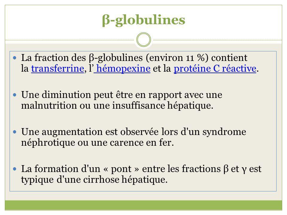 β-globulines La fraction des β-globulines (environ 11 %) contient la transferrine, l hémopexine et la protéine C réactive.transferrine hémopexineprotéine C réactive Une diminution peut être en rapport avec une malnutrition ou une insuffisance hépatique.