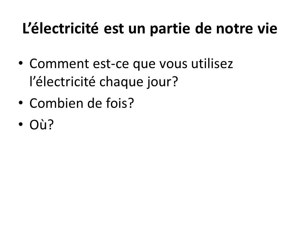 Lélectricité est un partie de notre vie Comment est-ce que vous utilisez lélectricité chaque jour.