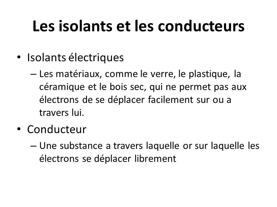 Les isolants et les conducteurs Isolants électriques – Les matériaux, comme le verre, le plastique, la céramique et le bois sec, qui ne permet pas aux électrons de se déplacer facilement sur ou a travers lui.