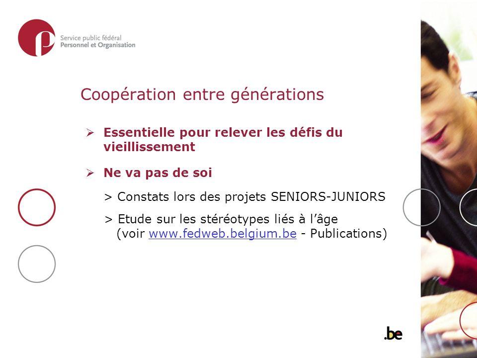 Coopération entre générations Essentielle pour relever les défis du vieillissement Ne va pas de soi > Constats lors des projets SENIORS-JUNIORS > Etude sur les stéréotypes liés à lâge (voir www.fedweb.belgium.be - Publications)