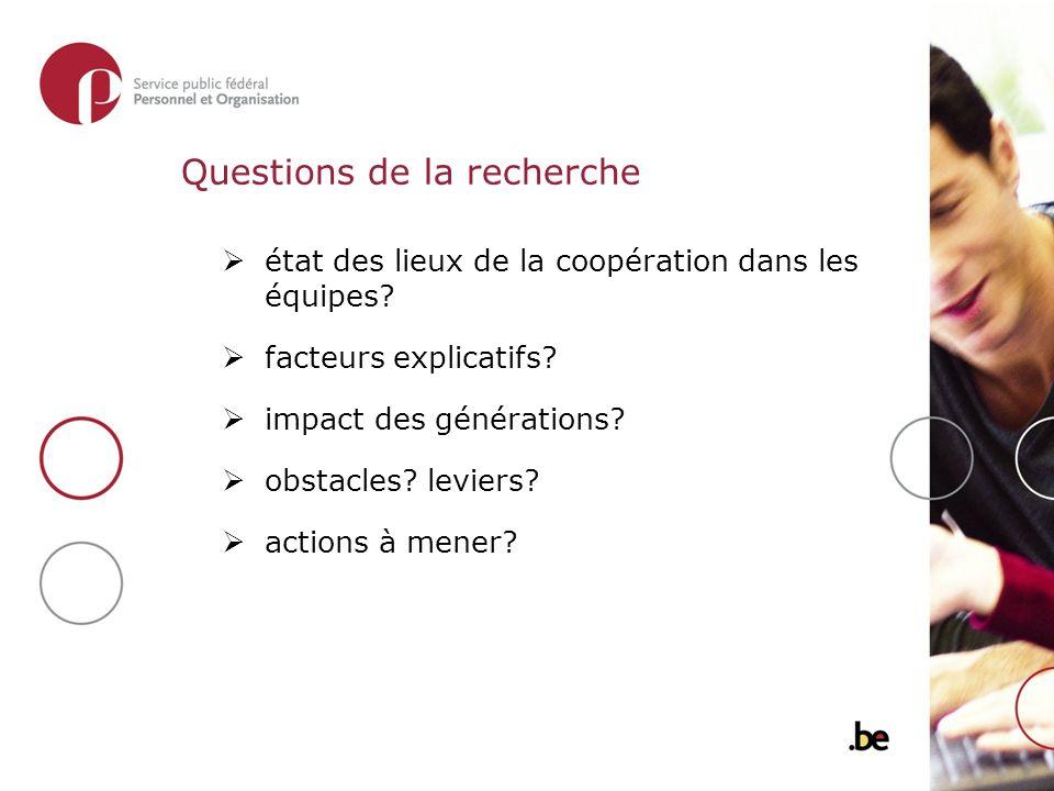 Questions de la recherche état des lieux de la coopération dans les équipes.