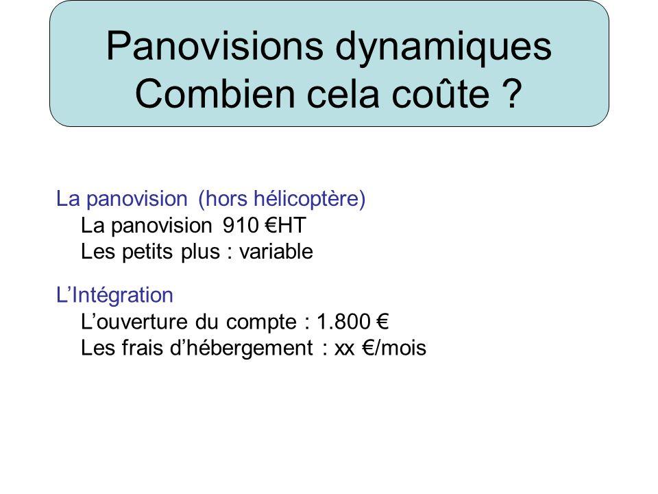 Panovisions dynamiques Combien cela coûte ? La panovision (hors hélicoptère) La panovision 910 HT Les petits plus : variable LIntégration Louverture d