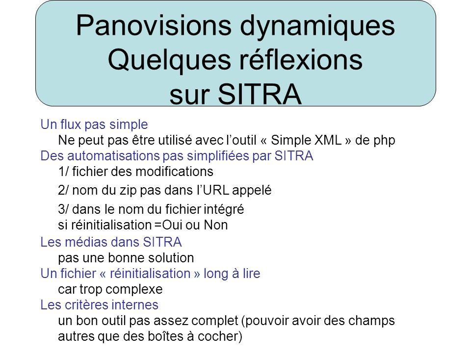 Panovisions dynamiques Quelques réflexions sur SITRA Un flux pas simple Ne peut pas être utilisé avec loutil « Simple XML » de php Des automatisations