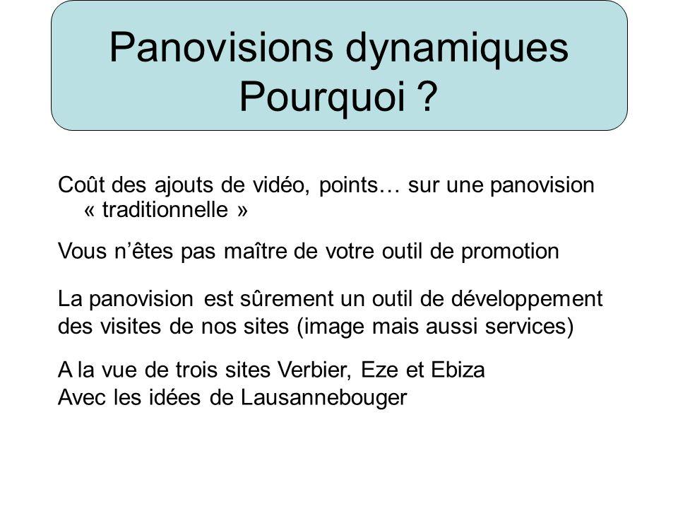 Panovisions dynamiques Pourquoi ? Coût des ajouts de vidéo, points… sur une panovision « traditionnelle » Vous nêtes pas maître de votre outil de prom