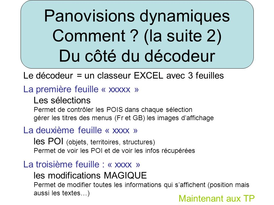 Le décodeur = un classeur EXCEL avec 3 feuilles La première feuille « xxxxx » Les sélections Permet de contrôler les POIS dans chaque sélection gérer