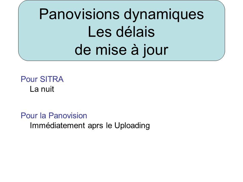 Pour SITRA La nuit Pour la Panovision Immédiatement aprs le Uploading Panovisions dynamiques Les délais de mise à jour