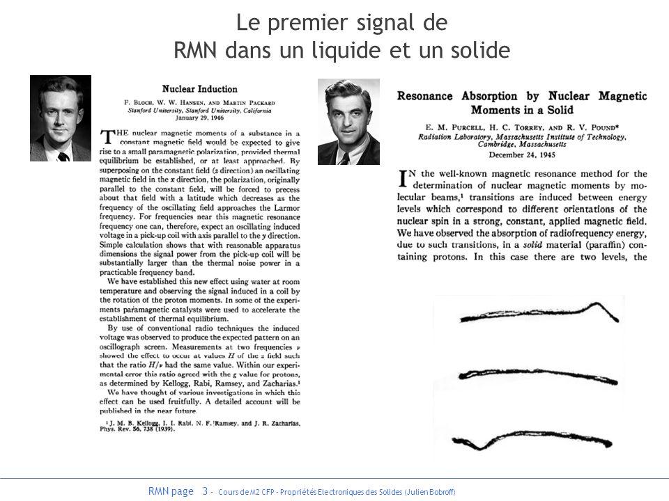 RMN page 3 - Cours de M2 CFP - Propriétés Electroniques des Solides (Julien Bobroff) Le premier signal de RMN dans un liquide et un solide