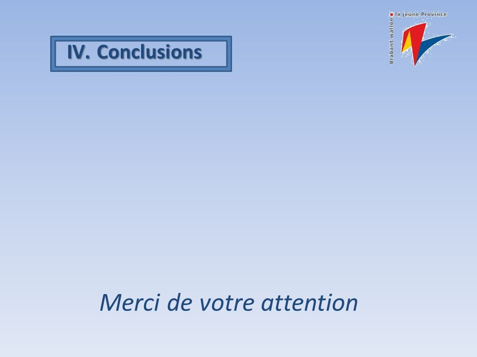 IV.Conclusions Merci de votre attention