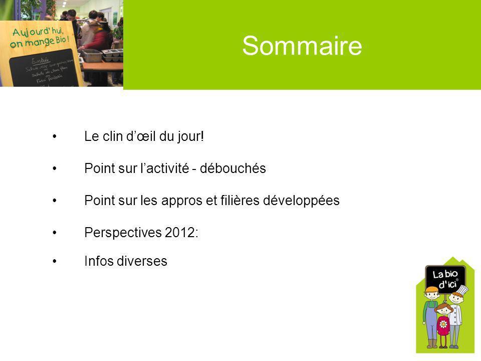 Sommaire Le clin dœil du jour! Point sur lactivité - débouchés Point sur les appros et filières développées Perspectives 2012: Infos diverses